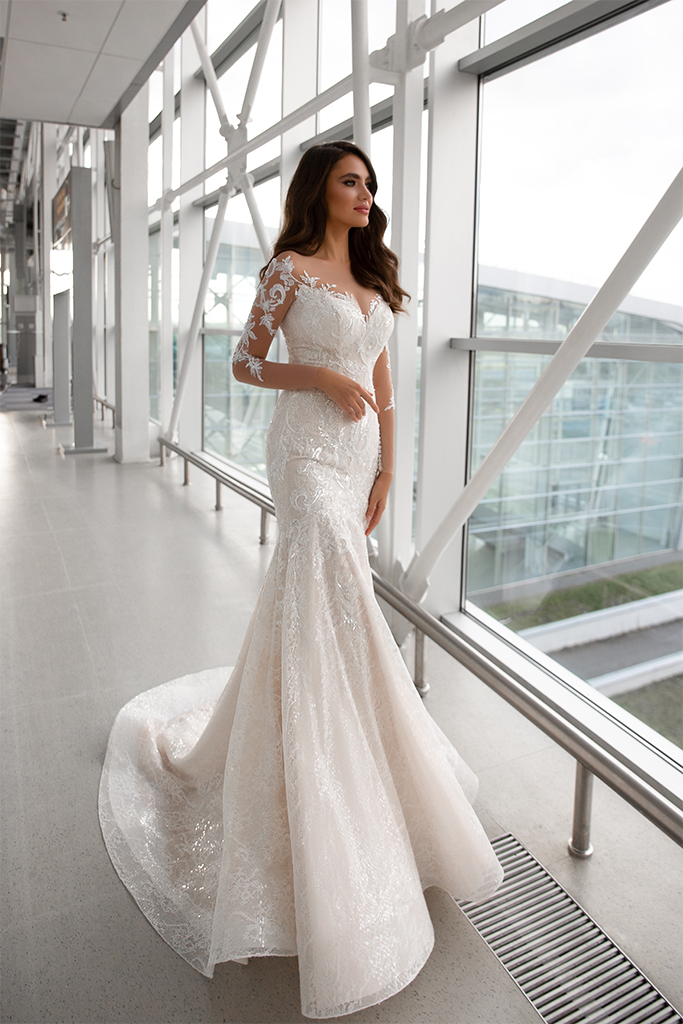 Wedding dresses Cortney Collection  Gloss  Silhouette  Fitted  Color  Ivory  Neckline  Sweetheart  Sleeves  Long Sleeves  Fitted  Train  With train