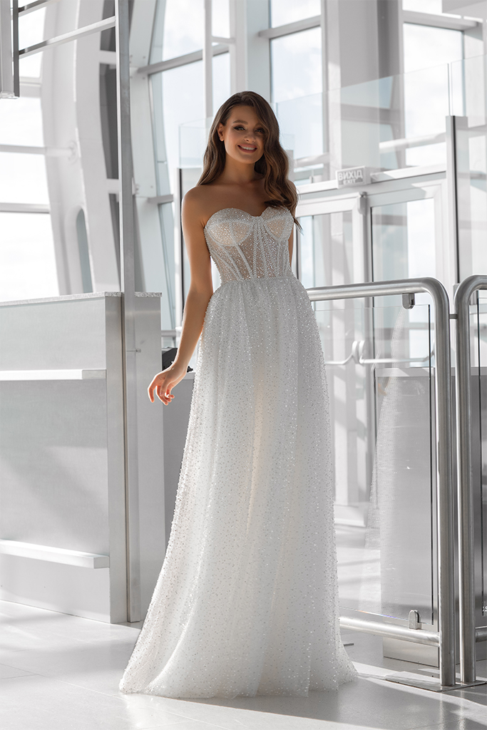 Wedding dresses Nimfa Collection  Gloss  Silhouette  A Line  Color  Ivory  Neckline  Sweetheart  Sleeves  Sleeveless  Train  No train