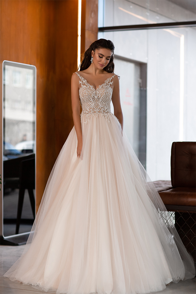 Wedding dresses Etni Collection  Gloss  Silhouette  A Line  Color  Blush  Ivory  Neckline  Portrait (V-neck)  Sleeves  Spaghetti Straps  Train  With train