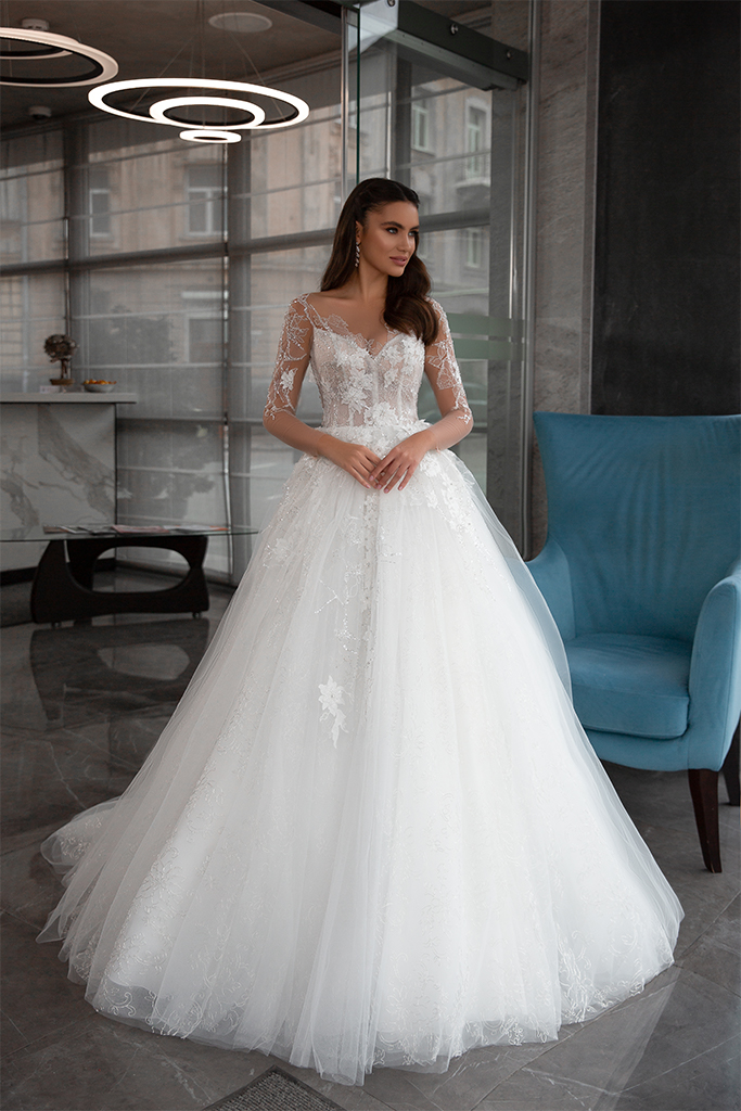Wedding dresses Bella Collection  Gloss  Silhouette  Ball Gown  Color  Ivory  Neckline  Sweetheart  Sleeves  Long Sleeves  Fitted  Train  With train