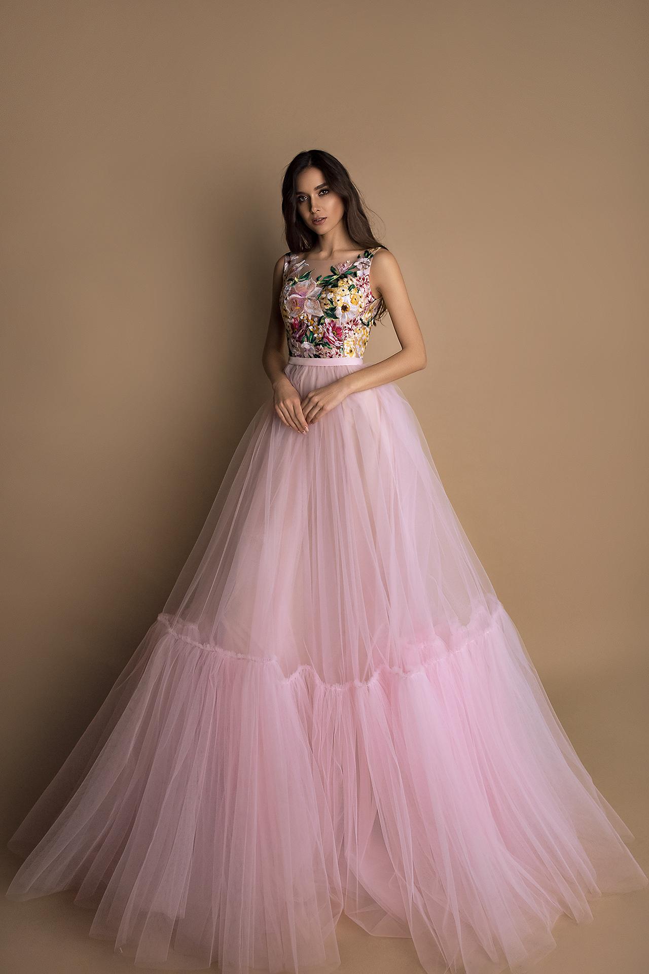 Evening Dresses 1599 Silhouette  A Line  Color  Pink  Neckline  Portrait (V-neck)  Sleeves  Wide straps  Train  No train