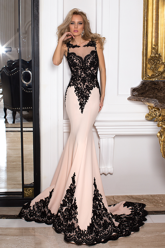 Evening Dresses 1029 Silhouette  Fitted  Color  Pink  Black  Neckline  Illusion  Bateau (Boat Neck)  Sleeves  Wide straps  Train  With train