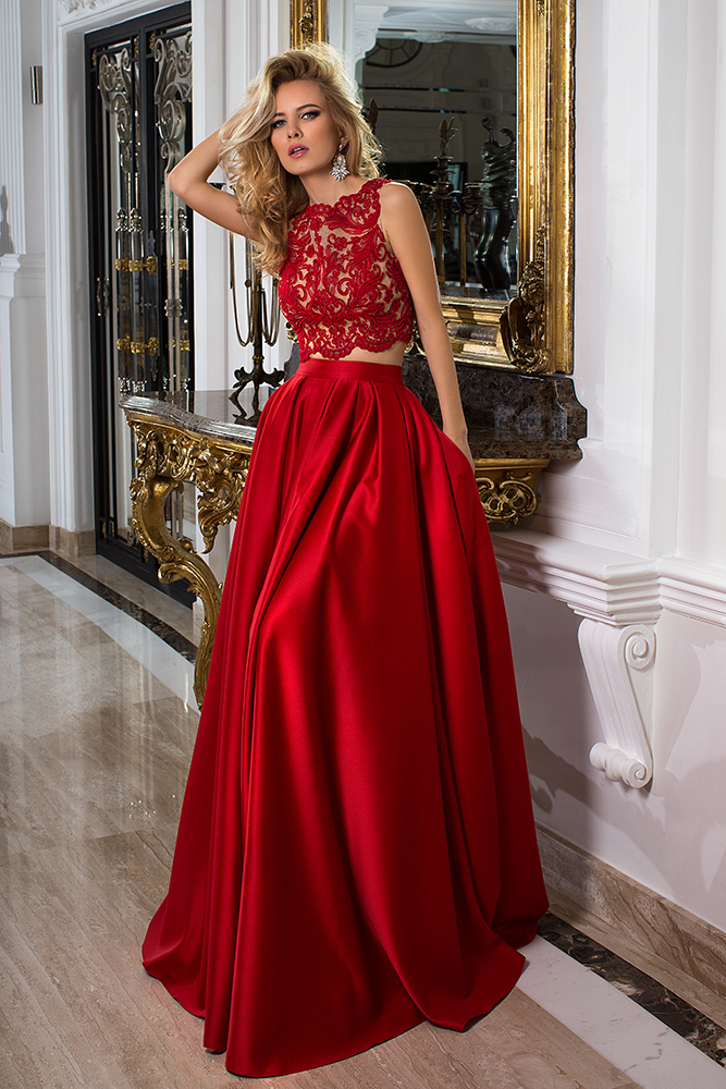 Evening Dresses 1033-1 Silhouette  A Line  Color  Red  Neckline  Bateau (Boat Neck)  Sleeves  Wide straps  Train  With train