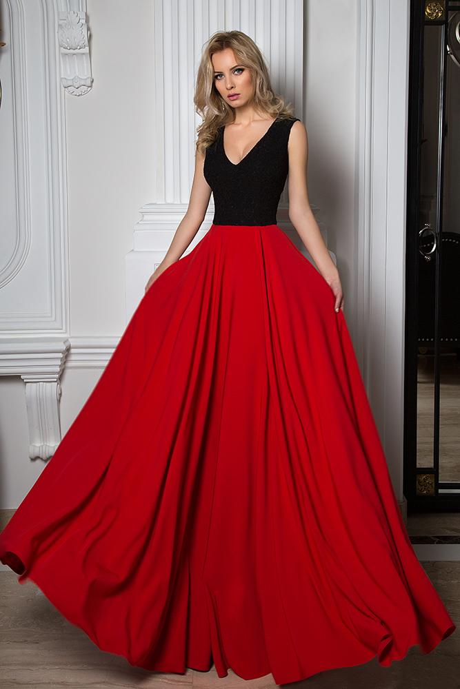 Evening Dresses 1037 Silhouette  A Line  Color  Black  Red