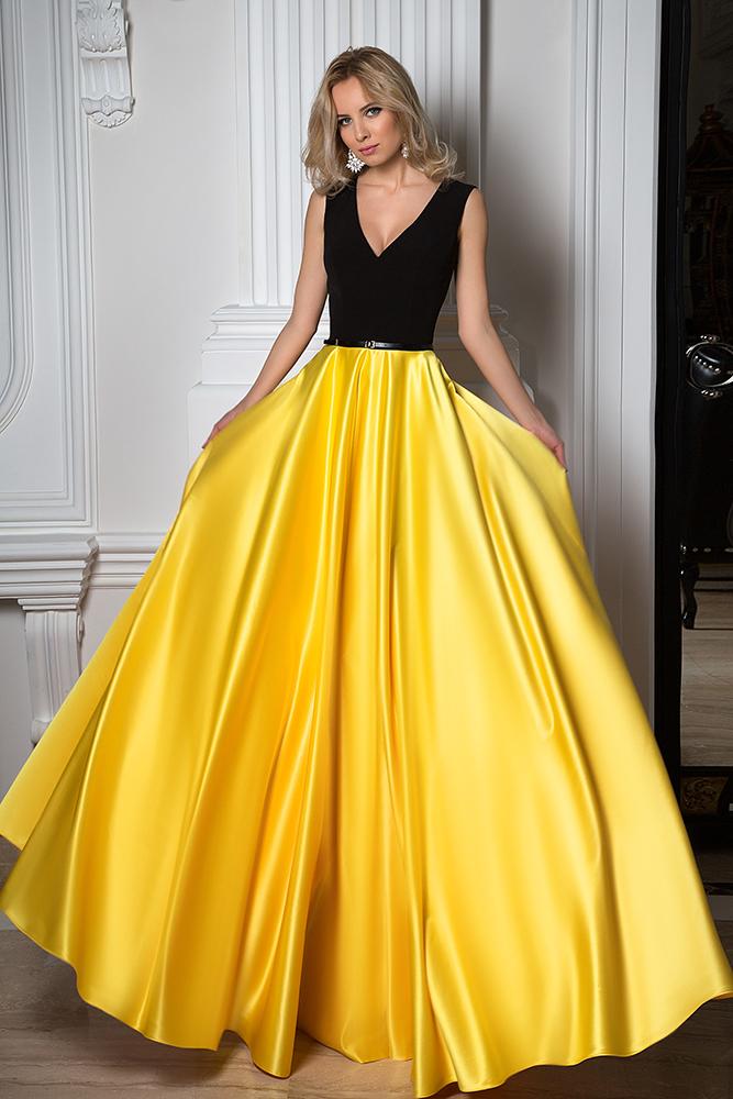 Evening Dresses 1091 Silhouette  A Line  Color  Yellow  Black  Neckline  Portrait (V-neck)  Sleeves  Wide straps  Train  No train