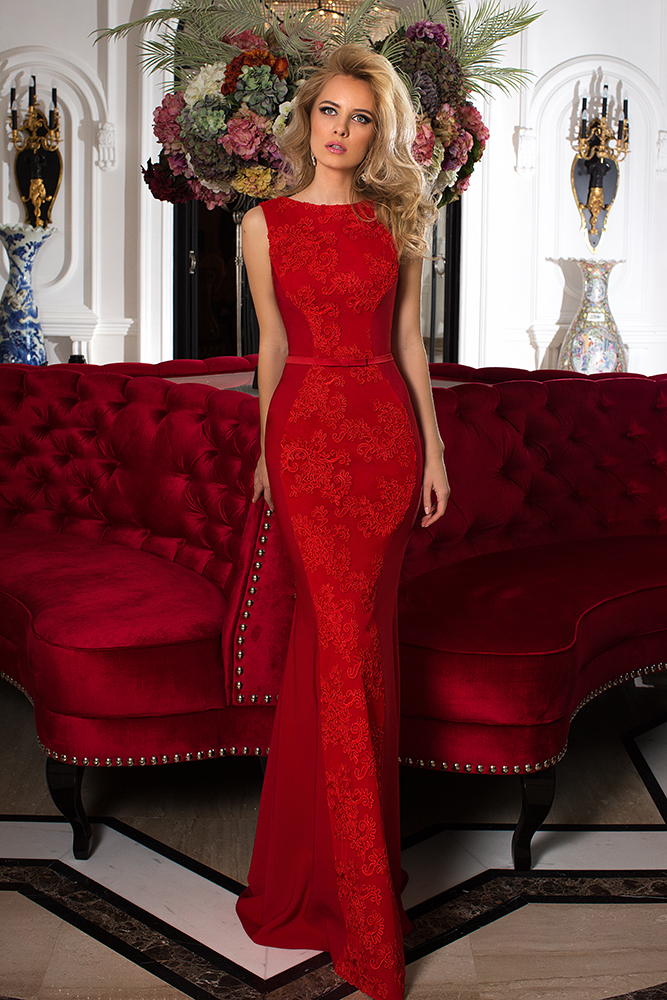 Evening Dresses 753-2 Silhouette  Fitted  Color  Red  Neckline  Bateau (Boat Neck)  Sleeves  Wide straps  Train  No train
