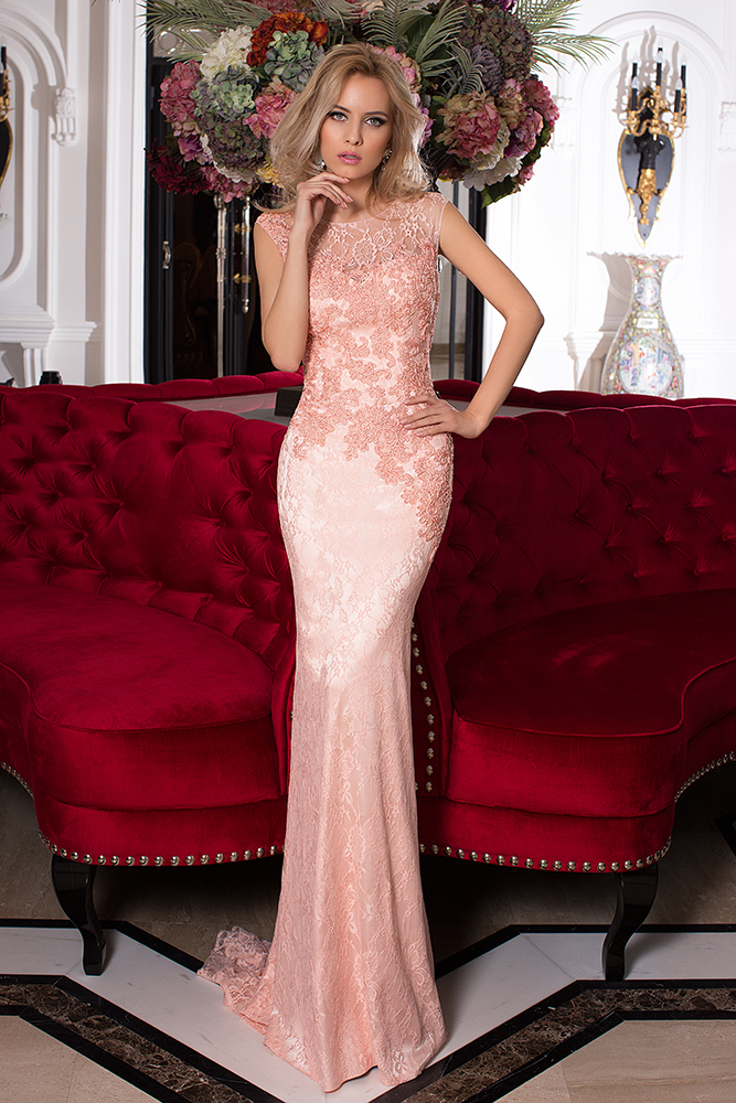 Evening Dresses 820-2 Silhouette  Fitted  Color  Peach  Neckline  Bateau (Boat Neck)  Sleeves  Wide straps  Petal  Train  With train
