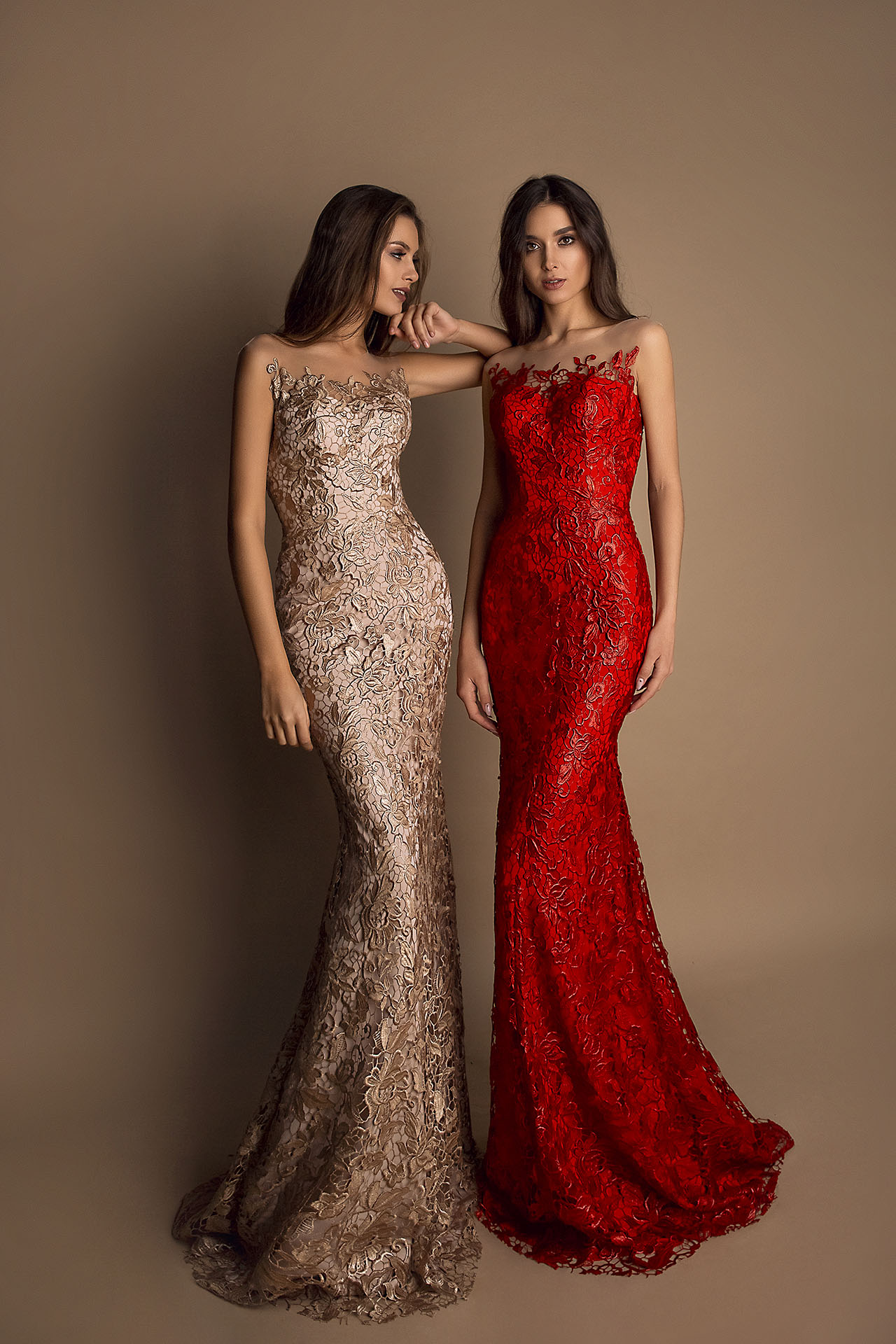 Evening Dresses 1603 Silhouette  Fitted  Color  Cappuccino  Red  Neckline  Sweetheart  Illusion  Sleeves  Sleeveless  Train  No train