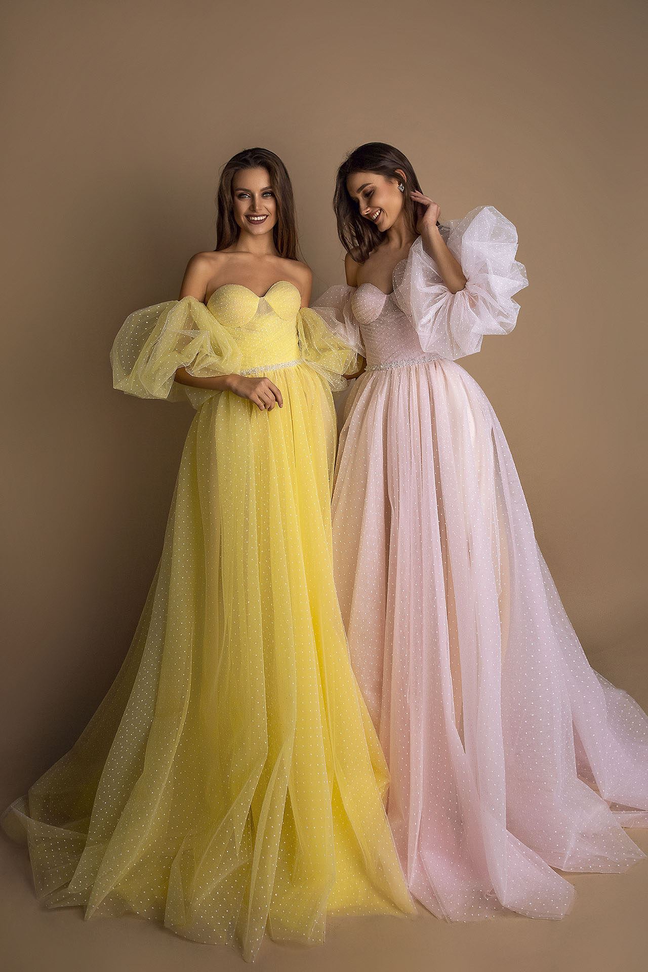 Evening Dresses 1605 Silhouette  A Line  Color  Pink  Yellow  Neckline  Sweetheart  Sleeves  Off the Shoulder Sleeves  Train  No train