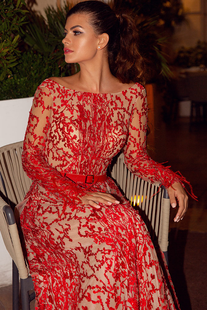 Evening Dresses 1476-1 Silhouette  Sheath  Color  Red  Neckline  Scoop  Sleeves  Long Sleeves  Train  No train