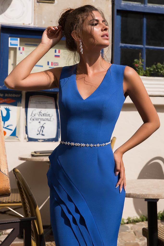Evening Dresses 934 Silhouette  Sheath  Color  Blue  Neckline  Portrait (V-neck)  Sleeves  Wide straps  Train  No train
