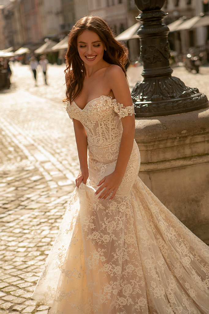 Wedding dresses Corinne Collection  City Passion  Silhouette  Fitted  Color  Ivory  Neckline  Sweetheart  Sleeves  Wide straps  Off the Shoulder Sleeves  Train  With train