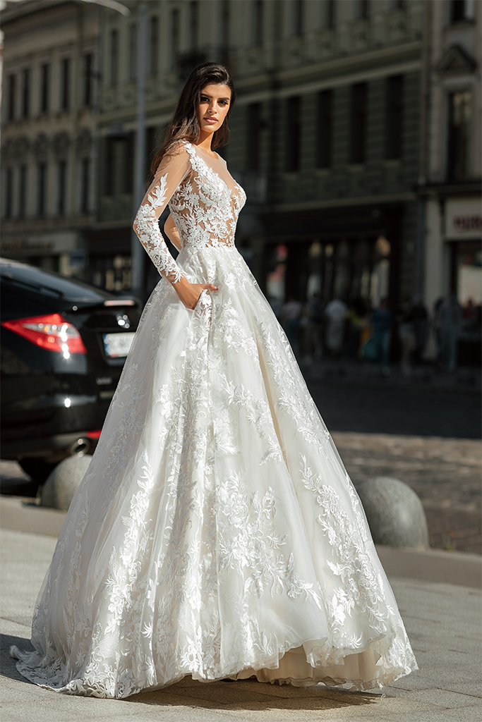 Wedding dresses Anastace Collection  City Passion  Silhouette  A Line  Color  Blush  Ivory  Neckline  Portrait (V-neck)  Illusion  Sleeves  Long Sleeves  Fitted  Train  With train