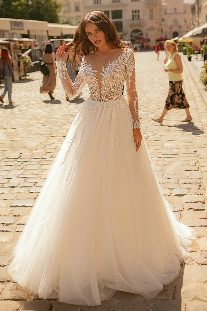 Wedding dresses Agata Collection  City Passion  Silhouette  A Line  Color  Blush  Ivory  Neckline  Portrait (V-neck)  Sleeves  Long Sleeves  Fitted  Train  With train
