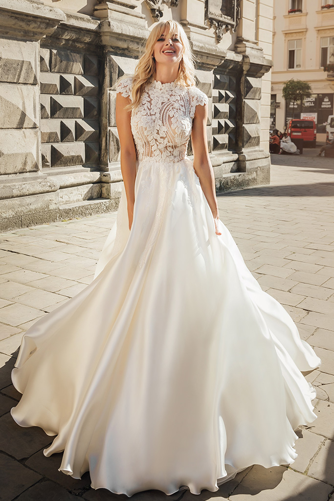 Wedding dresses Bethany Collection  City Passion  Silhouette  A Line  Color  Blush  Ivory  Neckline  Mandarin  Sleeves  Petal  Train  With train