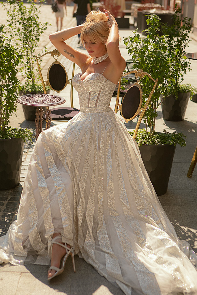Wedding dresses Celine Collection  City Passion  Silhouette  A Line  Color  Silver  Ivory  Neckline  Sweetheart  Sleeves  Sleeveless  Train  With train