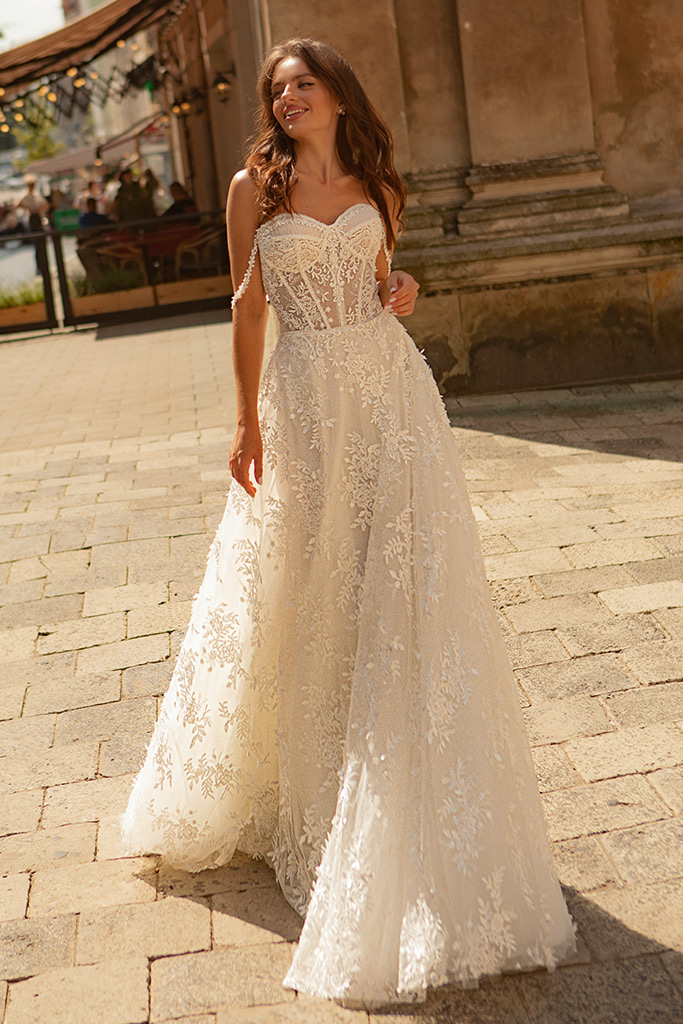 Wedding dresses Amber Collection  City Passion  Silhouette  A Line  Color  Ivory  Neckline  Sweetheart  Sleeves  Wide straps  Off the Shoulder Sleeves  Train  With train