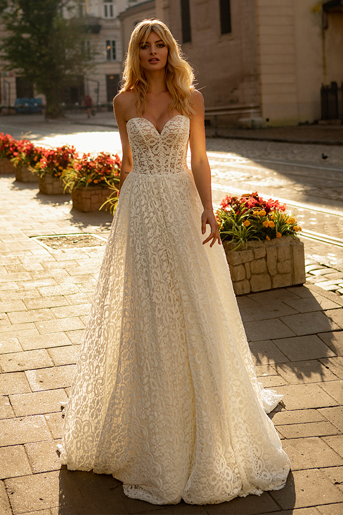Wedding dresses Amandine Collection  City Passion  Silhouette  A Line  Color  Ivory  Neckline  Sweetheart  Sleeves  Sleeveless  Train  With train