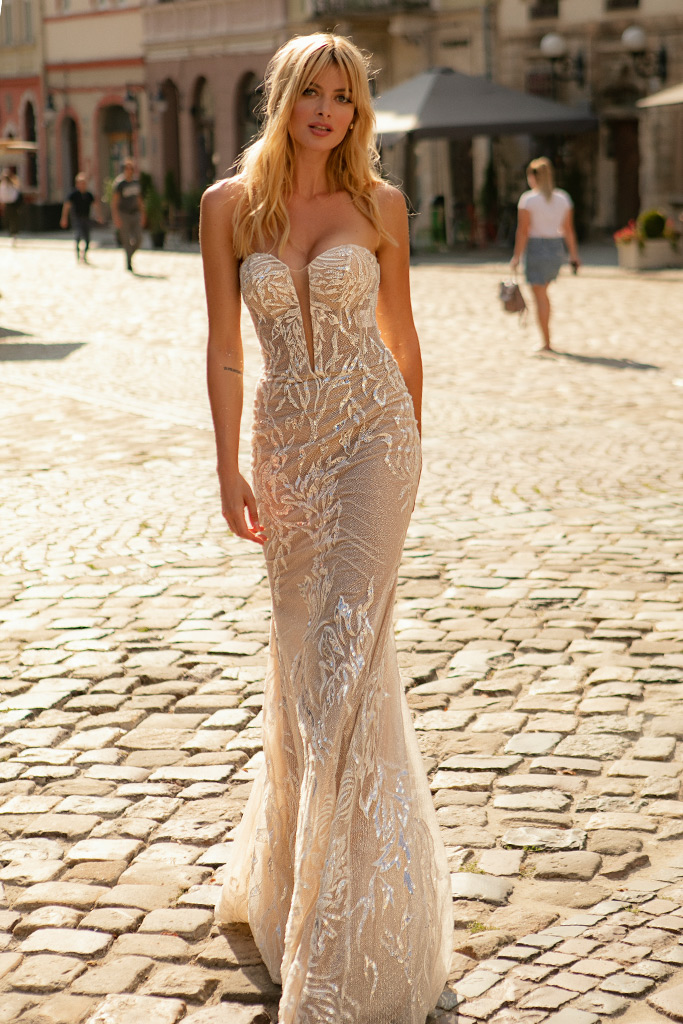Wedding dresses Aurelia Collection  City Passion  Silhouette  Sheath  Color  Blush  Ivory  Neckline  Portrait (V-neck)  Sleeves  Sleeveless  Train  With train