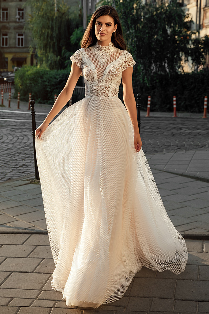 Wedding dresses Camelia Collection  City Passion  Silhouette  A Line  Color  Blush  Ivory  Neckline  Mandarin  Sleeves  Petal  Train  With train