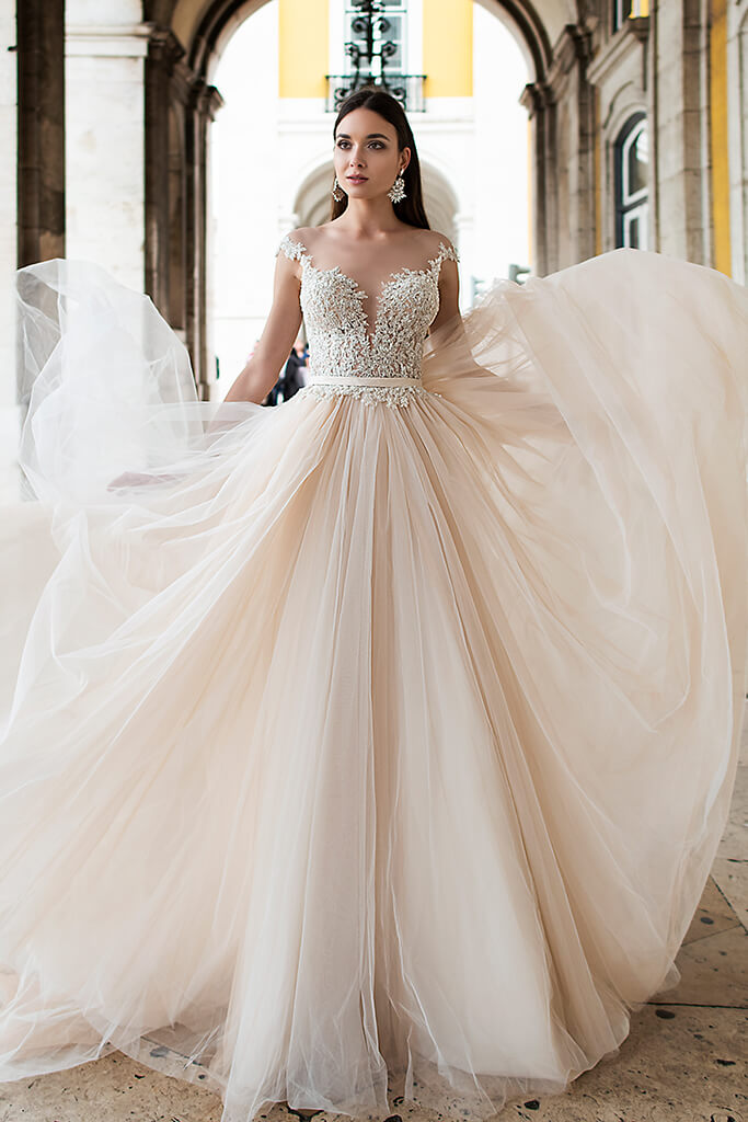 Wedding dresses Nymeria Collection  Lisbon Lace  Silhouette  A Line  Color  Cappuccino  Ivory  Neckline  Sweetheart  Portrait (V-neck)  Illusion  Sleeves  Wide straps  Train  With train