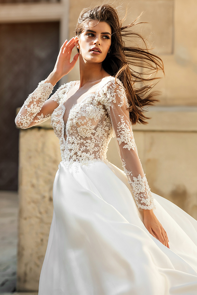 Wedding dresses Aimi Collection  City Passion  Silhouette  A Line  Color  White  Neckline  Portrait (V-neck)  Sleeves  Long Sleeves  Fitted  Train  With train