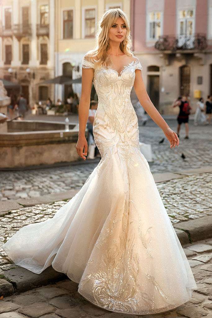 Wedding dresses Ireni Collection  City Passion  Silhouette  Fitted  Color  Ivory  Neckline  Sweetheart  Sleeves  Wide straps  Off the Shoulder Sleeves  Train  With train