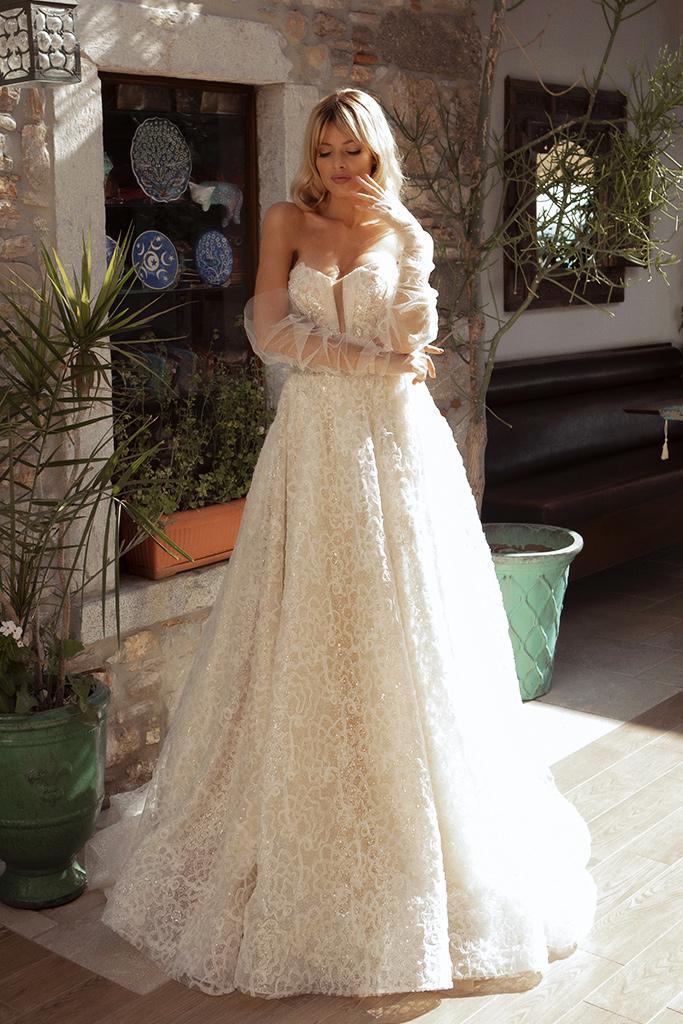 Wedding dresses Faith Silhouette  A Line  Color  Ivory-blush  Neckline  Sweetheart  Sleeves  Detachable  Train  With train