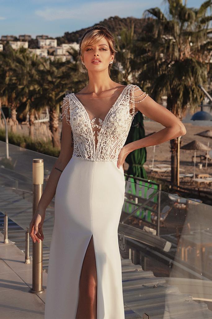 Wedding dresses Grayson Silhouette  Sheath  Color  Ivory  Neckline  Portrait (V-neck)  Sleeves  Wide straps  Train  With train