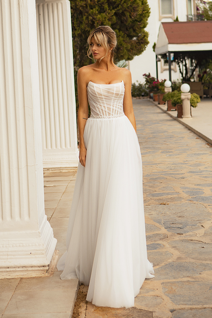Wedding dresses Susan Silhouette  A Line  Color  Ivory  Neckline  Straight  Sleeves  Sleeveless  Train  With train
