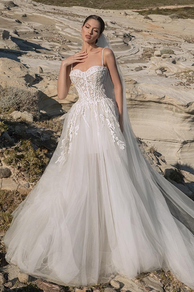 Wedding dresses Franceska Silhouette  A Line  Color  Ivory  Neckline  Sweetheart  Sleeves  Spaghetti Straps  Train  With train