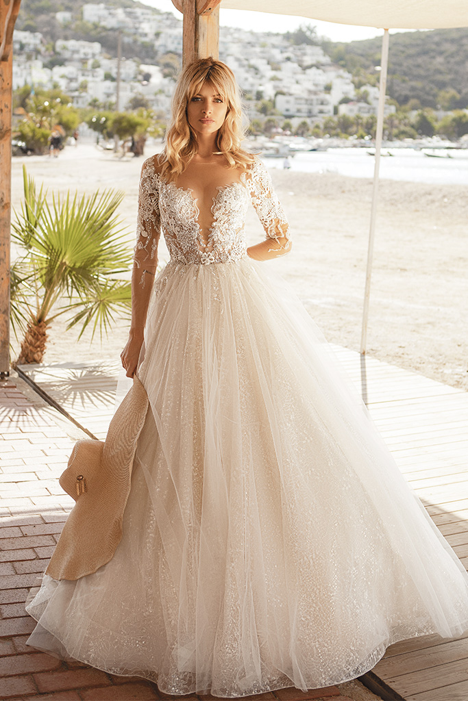Wedding dresses Tayana Silhouette  A Line  Color  Blush  Neckline  Portrait (V-neck)  Sleeves  Long Sleeves  Train  With train