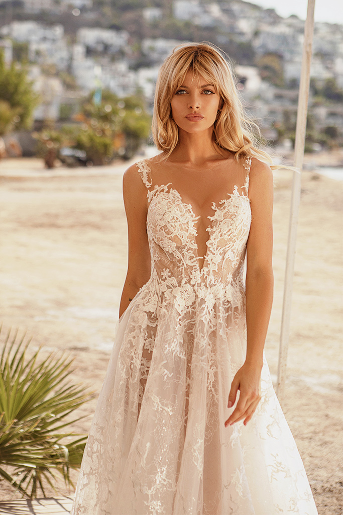 Wedding dresses Luciya Silhouette  A Line  Color  Ivory-blush  Neckline  Scoop  Sleeves  Sleeveless  Train  With train