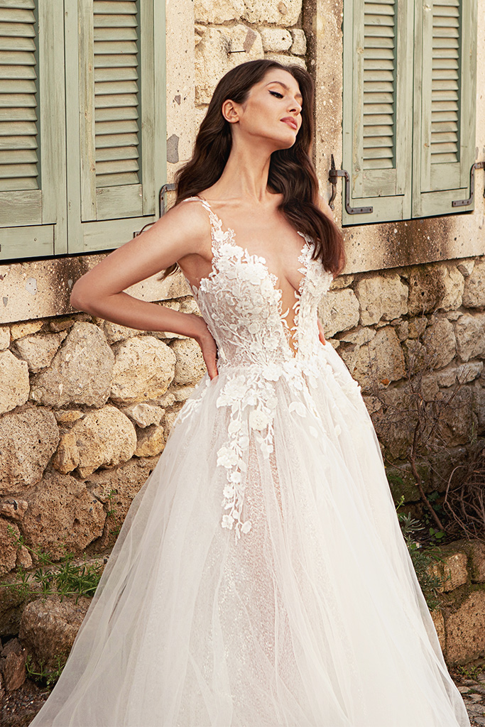 Wedding dresses Emilia Silhouette  A Line  Color  Ivory-blush  Neckline  Scoop  Sleeves  Strapless  Train  With train