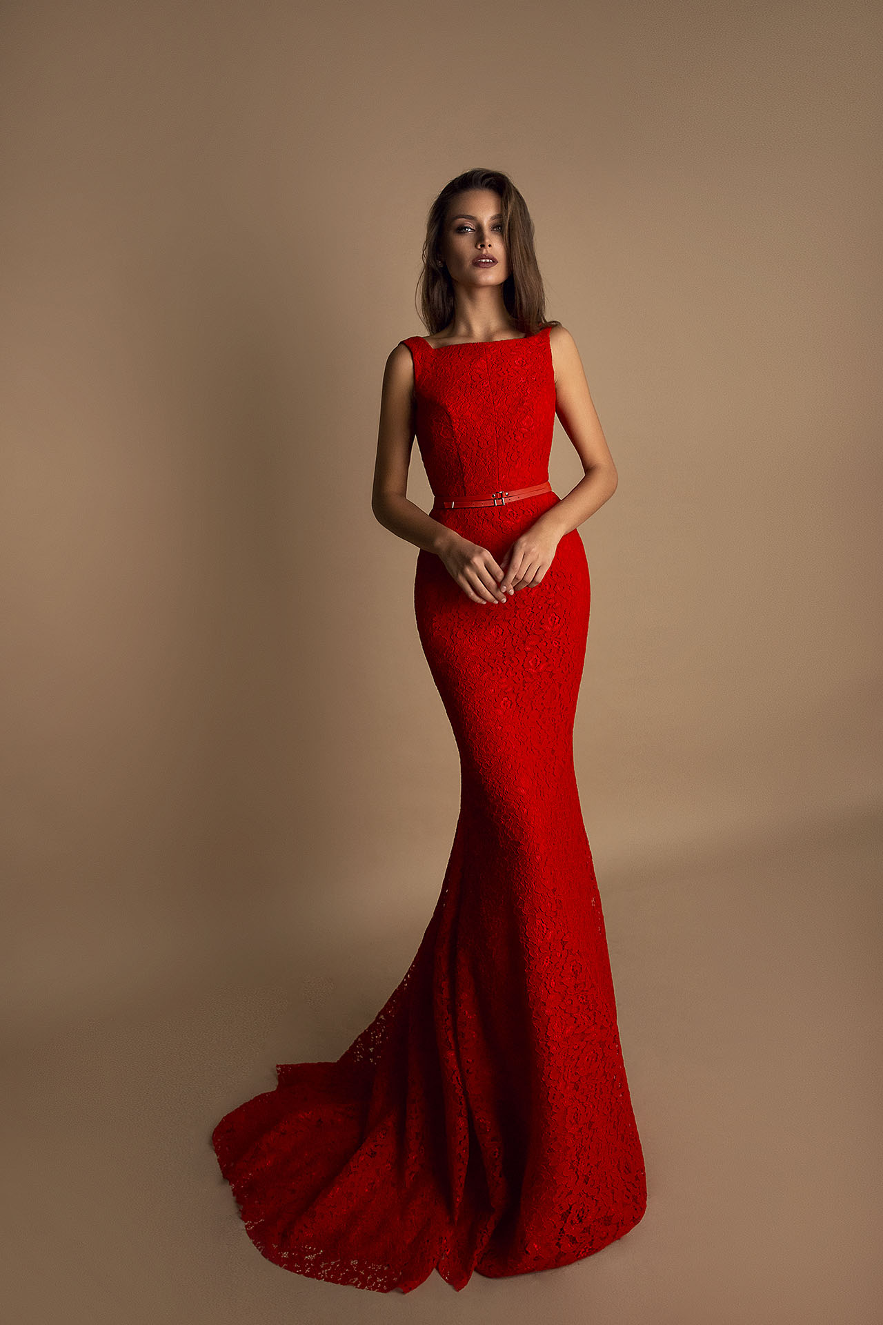 Evening Dresses 1623 Silhouette  Fitted  Color  Blue  Peach  Red  Neckline  Bateau (Boat Neck)  Sleeves  Wide straps  Train  With train