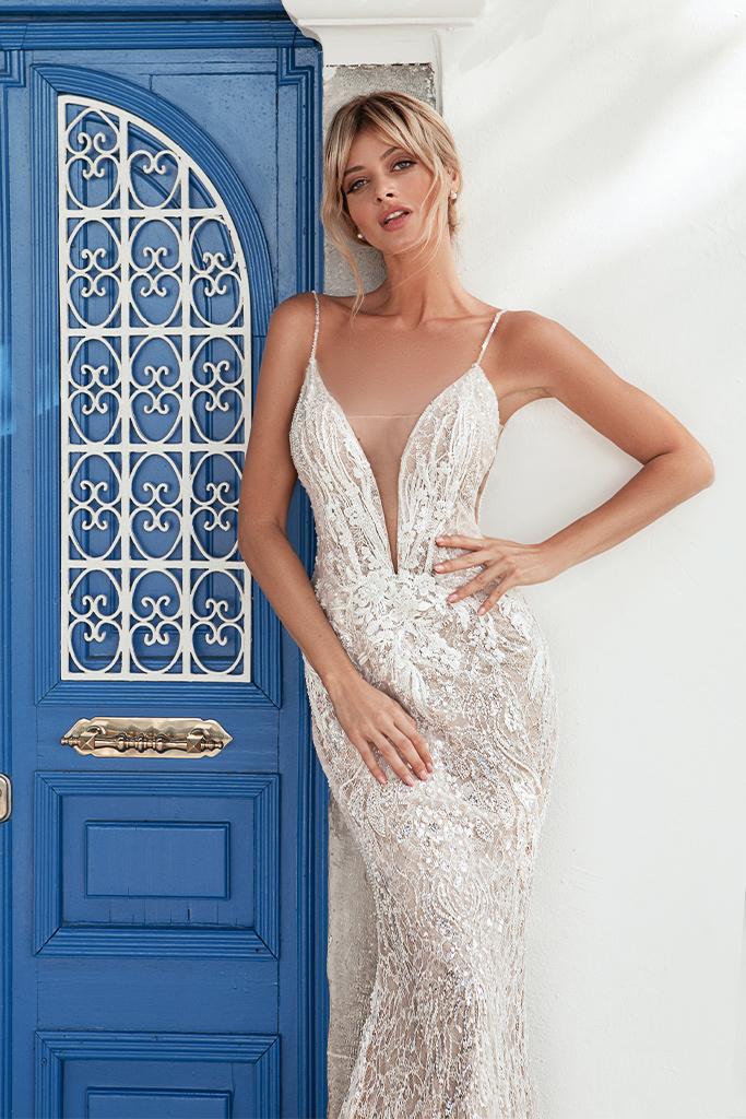 Свадебные платья Meredith-1 Цвет  Пудровый  Кремовиый