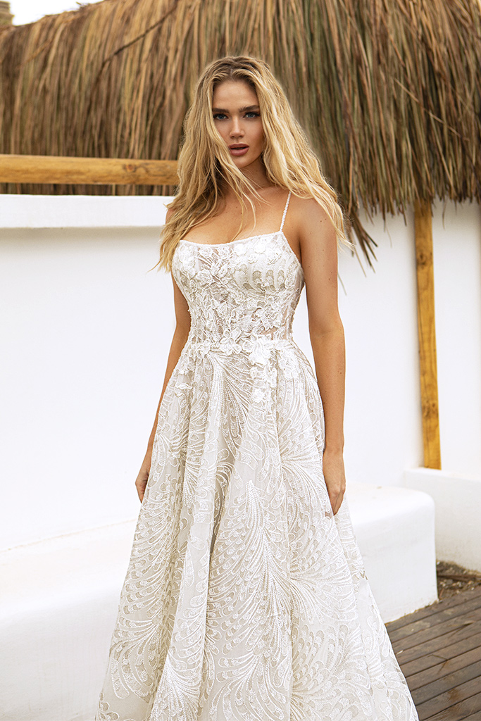 Wedding dresses Aria Silhouette  A Line  Color  Ivory  Train  With train