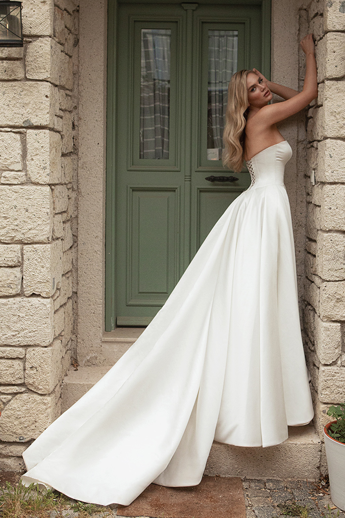 Wedding dresses Tesora Silhouette  A Line  Color  Ivory  Neckline  Straight  Sleeves  Sleeveless  Train  With train
