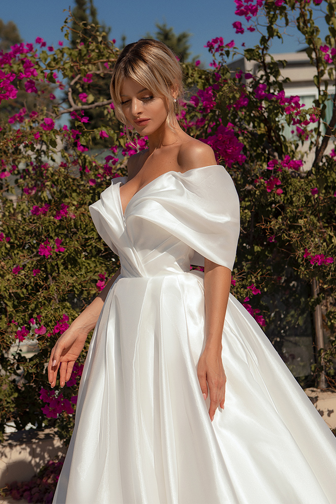Wedding dresses Alicia Silhouette  A Line  Color  Ivory  Neckline  Sweetheart  Sleeves  Off the Shoulder Sleeves  Train  With train