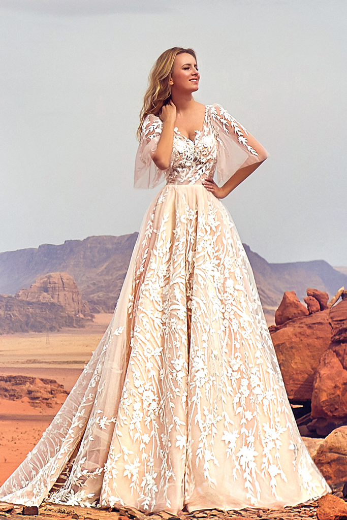 Wedding dress Jadice Silhouette  A Line  Color  Cappuccino  Neckline  Sweetheart  Sleeves  Detachable  Train  With train