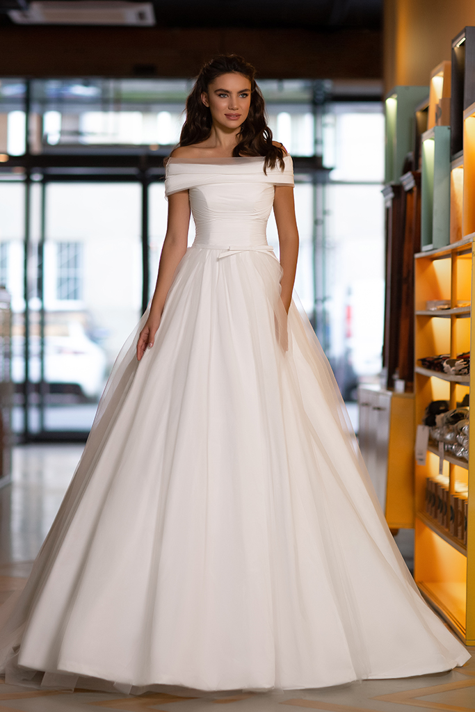 Wedding dress Mary Silhouette  A Line  Color  Ivory  Neckline  Off the Shoulder  Sleeves  Off the Shoulder Sleeves  Train  No train