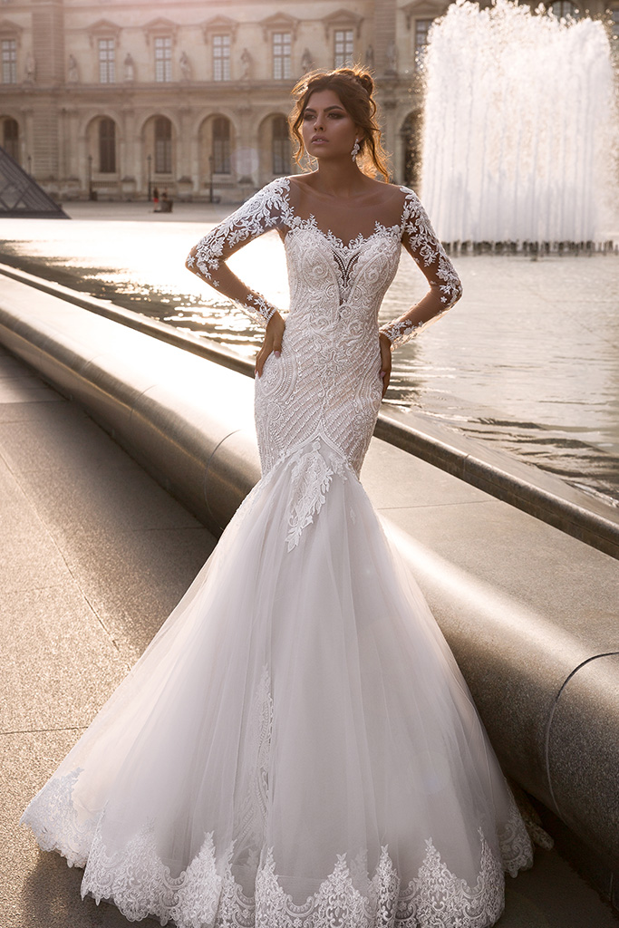 Wedding dress Marion  Silhouette  Mermaid  Color  Cappuccino  Ivory  Neckline  Sweetheart  Sleeves  Long Sleeves  Train  With train