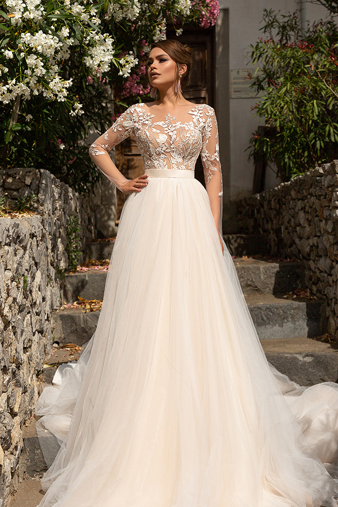 Wedding dress Modesta Silhouette  A Line  Color  Cappuccino  Neckline  Sweetheart  Sleeves  Long Sleeves  Train  With train