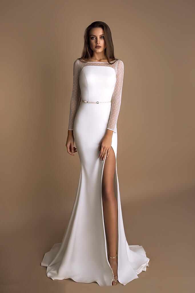 Wedding dress Ornella Silhouette  Sheath  Color  Ivory  Neckline  Straight  Sleeves  Long Sleeves  Train  With train