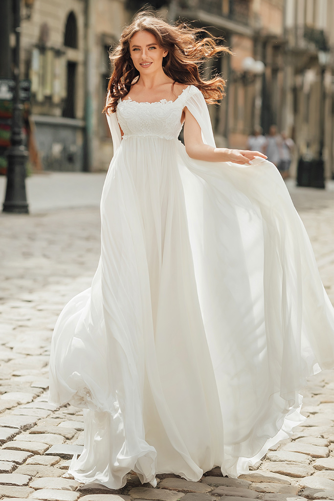 Wedding dress Raymond Silhouette  Empire  Color  Ivory  Neckline  Straight  Train  No train