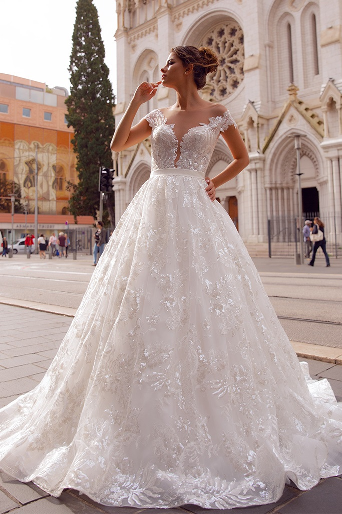 Wedding dress Rachel  Silhouette  A Line  Color  Ivory  Neckline  Sweetheart  Sleeves  Off the Shoulder Sleeves  Train  With train