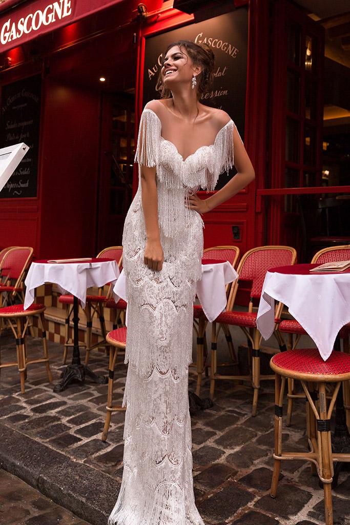 Wedding dress Uma Silhouette  Sheath  Color  Ivory  Neckline  Sweetheart  Train  No train