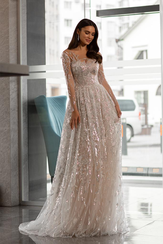 Wedding dress Shine Silhouette  A Line  Color  Silver  Ivory  Neckline  Sweetheart  Sleeves  Long Sleeves  Train  No train