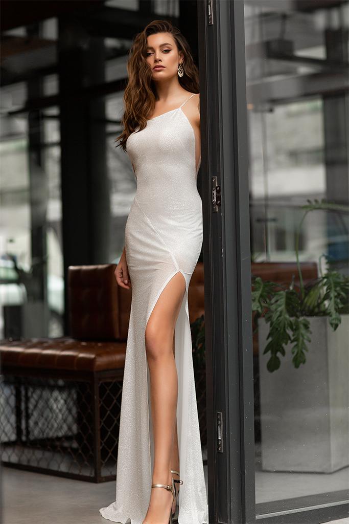 Wedding dress Antony  Silhouette  Sheath  Color  Ivory  Neckline  Straight  Sleeves  Spaghetti Straps  Train  With train