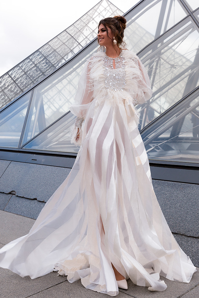Wedding dress Tayler Silhouette  A Line  Color  Ivory  Neckline  Scoop  Sleeves  Long Sleeves  Train  With train